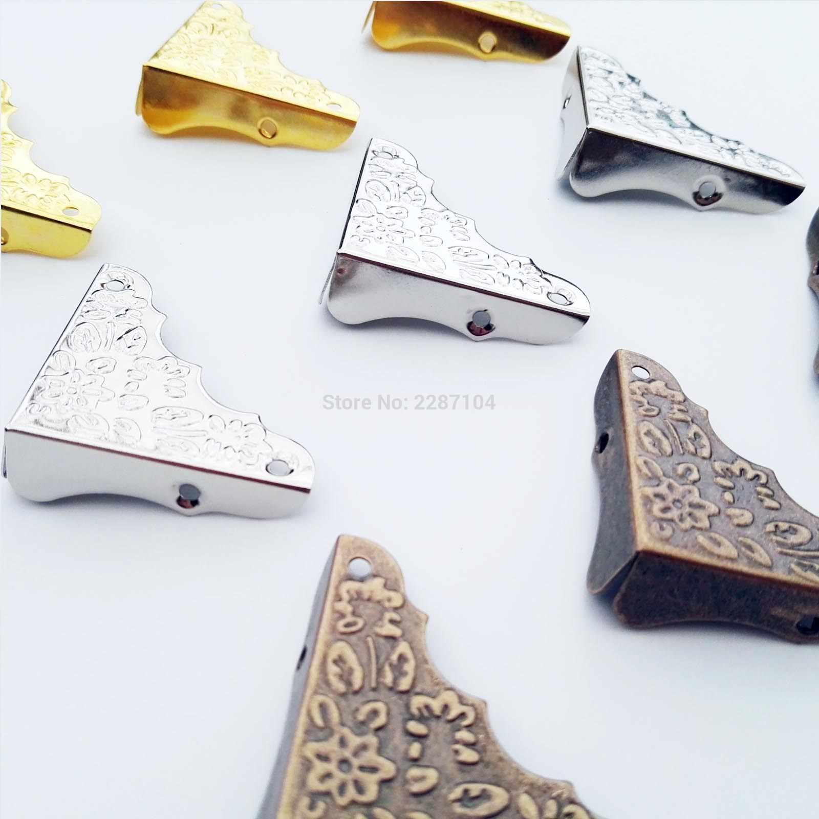 12pc Metal Decorative Jewelry Chest Wine Box Wooden Table Desk Picture Photo Frame furniture Edge Corner Protector Guard +Screws