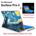 Hot Sale For Surface Pro 4 Stickers Tablet Vinyl Decal Netbook Oil Painting Skin+Explosion-proof Tempered Glass Screen Protector
