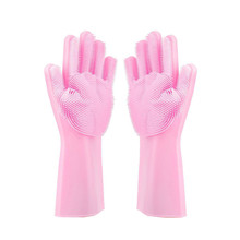 1pair Pink Magic Silicone Dish Washing Gloves Kitchen Accessories Dishwashing Glove Household Tools for Cleaning Car Pet Brush