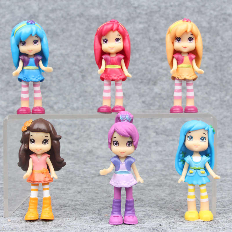 New cute cartoon 6 Style Strawberry Shortcake Girls action figure toys 7 cm PVC princess dolls collection for kids gift