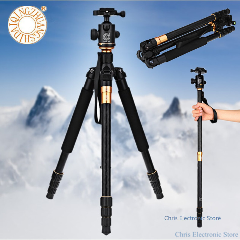 QZSD Q999 Professional Portable Lightweight Travel Tripod Monopod Ball Head Camera Stand For Digital SLR DSLR Camera Fold Tripe