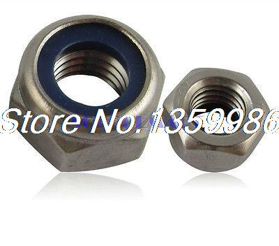 20Pcs Stainless Steel 304 <font><b>Nylon</b></font> Insert <font><b>M10</b></font> Self Lock <font><b>Screw</b></font> Nuts GB Standard image