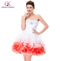 Free Shipping Grace Karin White Red Organza Short Mini Crystal Homecoming Beaded Cocktail Prom Ball Gown