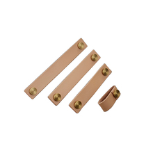 2PCS Brass Soft Leather Handle and Knobs for Furniture Cabinet Chest Drawer Suitcase with Screws JF1884