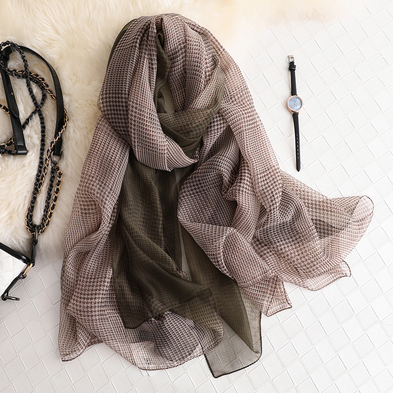 New Arrive Women Plaid Printed   Scarf   Long Size Shawls Silk   Scarves     Wrap   Bandana Ladies Hijab Female Thin   Wraps   Bandana