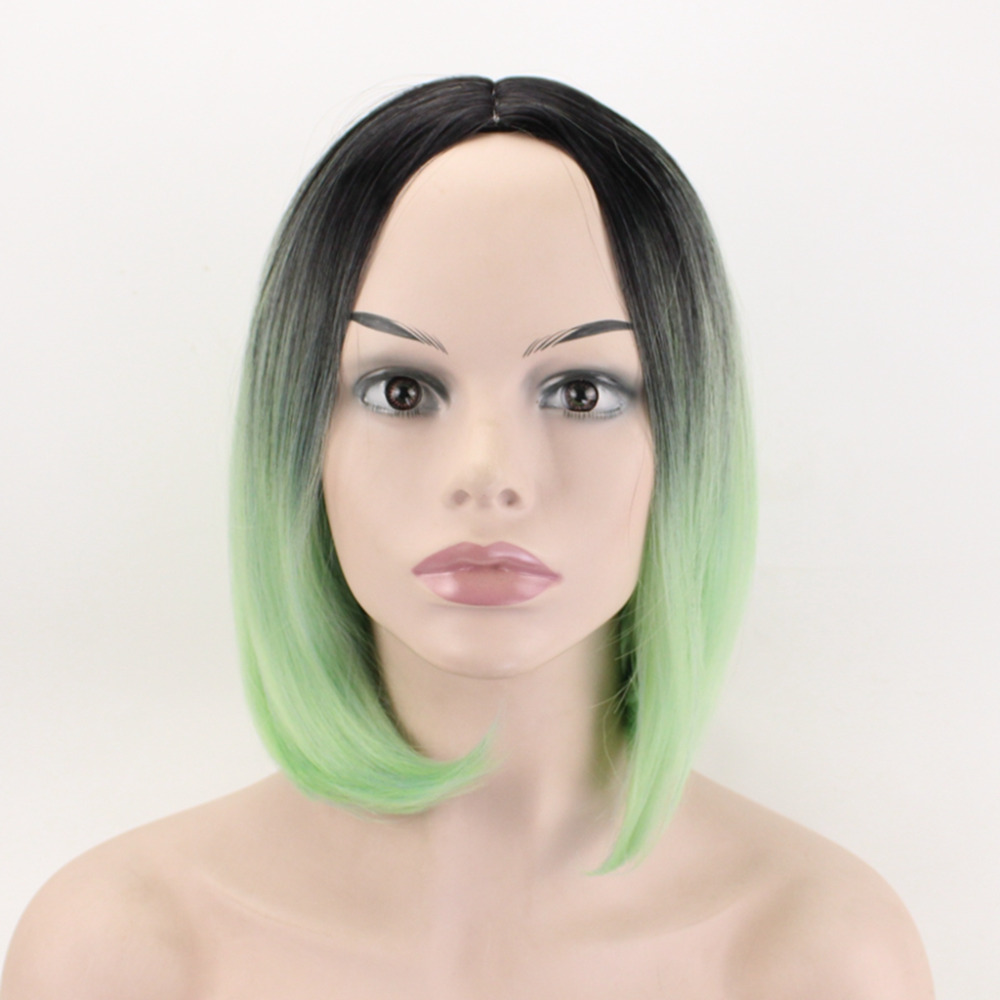 JOY&BEAUTY 14 Colors Short Natural Wave Wig Synthetic Hair Manual braid Wigs High Temperature Fiber For Cosplay Wig 12 inch