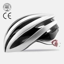 Casco de ciclismo transpirable con luz 2018 Pro Casco de bicicleta de carretera In-mold EPS + PC Casco de bicicleta Ultralight BMX casco mtb hombres y mujeres