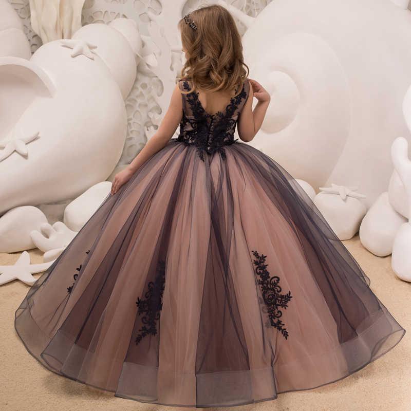 85ea0afa1e4 ... New Hot Girls Tulle Sleeveless Double V-neck Lace Appliques Ball Gowns Flower  Girl Dresses ...
