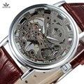 Sewor mecânica skeleton assista homens de luxo da marca transparente moda pulseira de couro marrom relógios de pulso masculino relógio ocasional