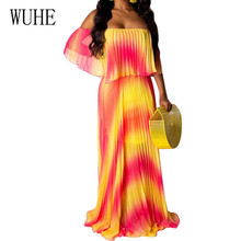 WUHE New Arrival Summer Elegant Bohemian Beach Long Lolita Chiffon Dresses Women Sexy Off Shoulder Vintage Casual Maxi Dress