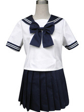 Free shipping Royal Blue Solide Short Sleeves Sailor School Uniform Cosplay Costume