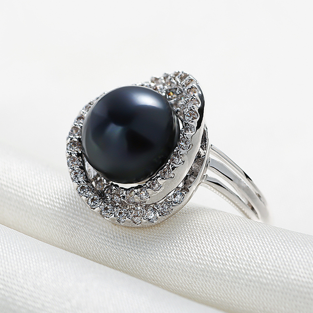 925 Sterling Silver Adjustable Ring with Natural Freshwater Pearl