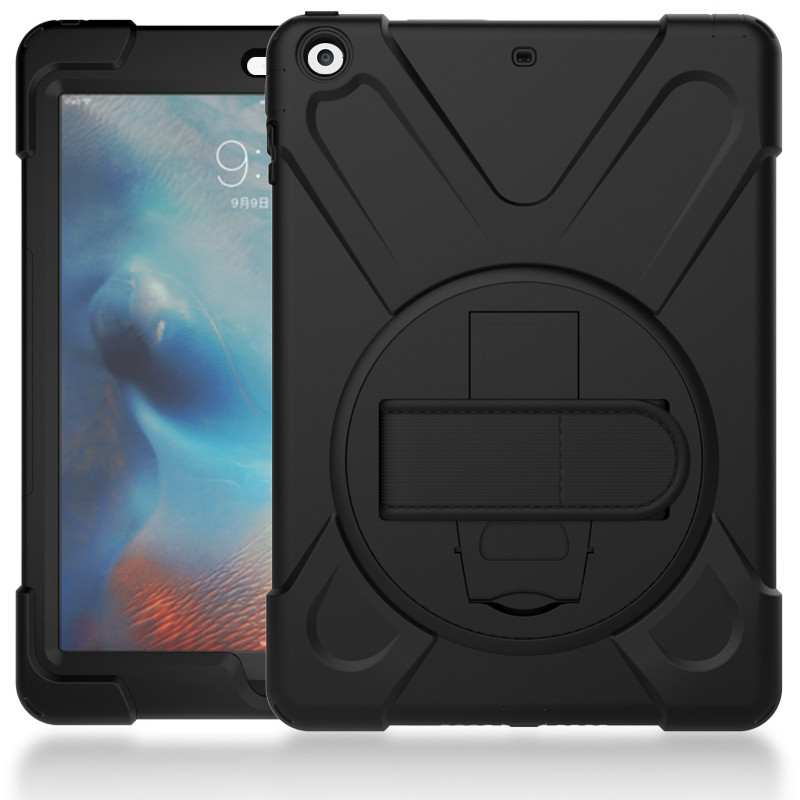 Hmsunrise Case Pentru Apple ipad nou 9.7 2017 Kids Safe Shockproof Soft Silicon Stand Armor Cover Funcția de menținere a mâinii A1822 A1823