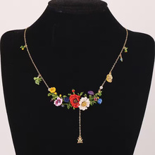 Les Nereides Luxe Flowers Necklace For Women Luxury Enamel Noble Lady Party Prom Wedding Jewelry