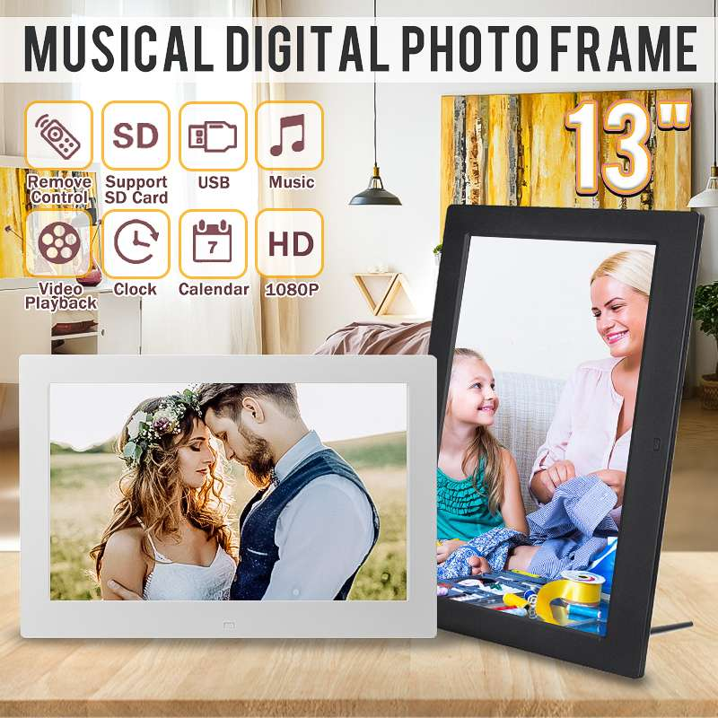 Leory 13'' 1080P HD Digital Photo LED Frame Picture MP4 Movie Player Clock Calendar with Package Gift for Display with Remote