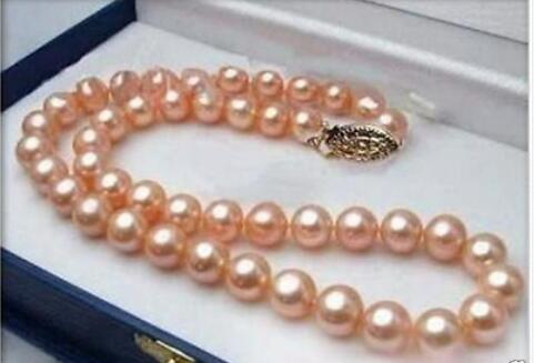 9-10mm genuine gold pink South Sea Pearl Necklace 189-10mm genuine gold pink South Sea Pearl Necklace 18