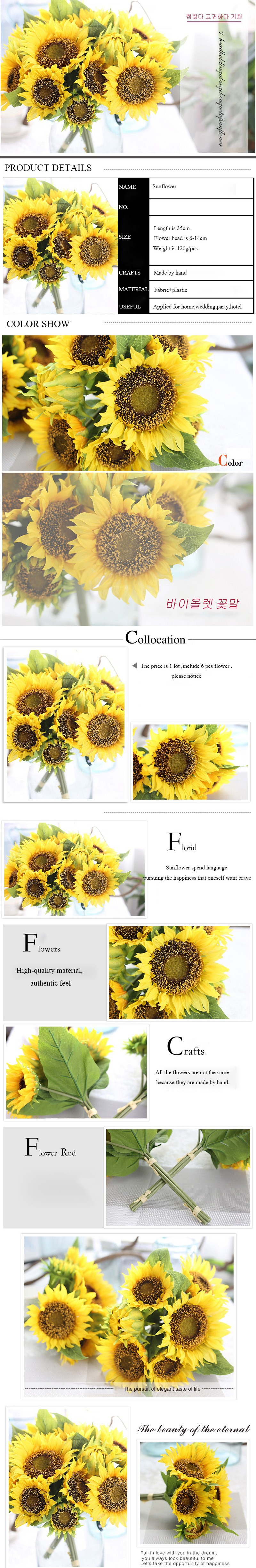 Hot Sale Free Shipping Large Silk Sunflower Artificial Flower