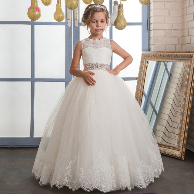 7663558c43c Ball Gown White Ivory Flower Girl Dress for Wedding with Beaded Sash Ankle  Length First Communion Dress Customized Kids Gown