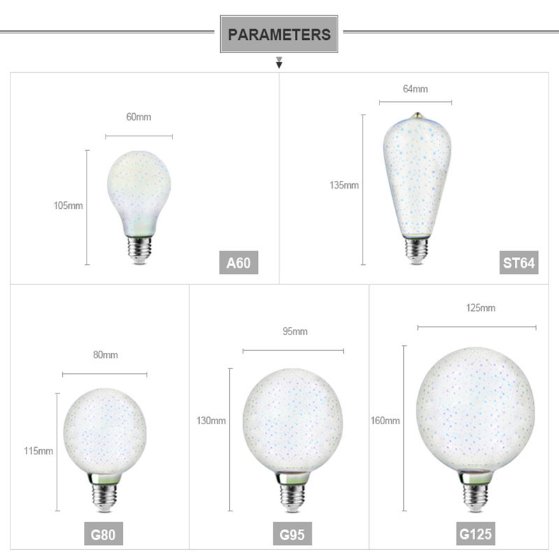 BOCHSBC Colorful 3D Fireworks Effect E27 LED Bulb Magic Lamp Lights Christmas Decoration E27 Bulb Table Lamps for Bedroom Study in Night Lights from Lights Lighting