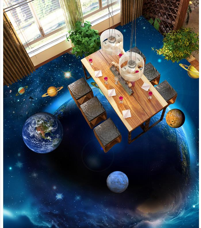 3d flooring Gorgeous Sky Planet Bathroom Bedroom 3D Floor pvc floor wallpaper 3d floor painting wallpaper customized 3d wallpaper 3d pvc floor painting wallpaper sea fish 3d floor tile beauty 3d wall murals room decoration