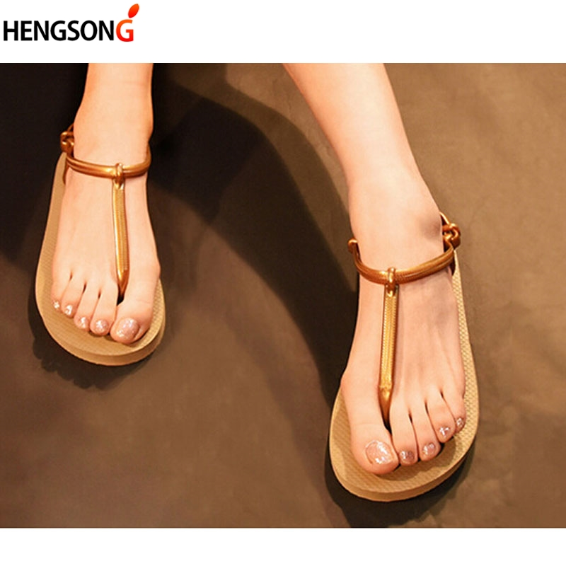цена 2018 Summer Women Sandals Candy Color Jelly Shoes Female Beach Sandalias Femininas Casual Thong Flats Shoes For Women Flip Flops в интернет-магазинах