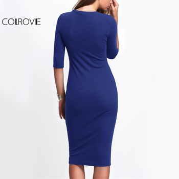 COLROVIE Basic Slim Casual Tee Dress Royal Blue Elegant Women Bodycon Work Midi Dresses Fashion New Half Sleeve Solid Dress 1