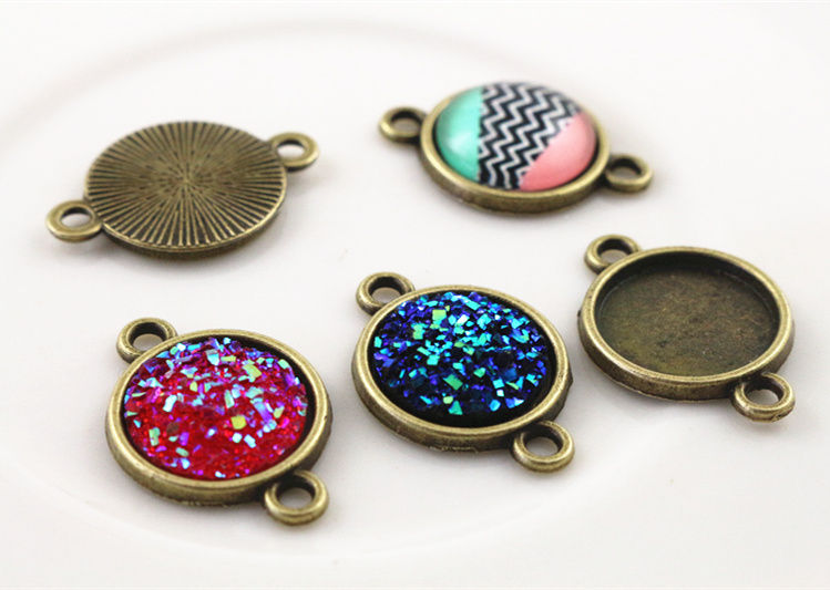 20pcs 12mm Inner Size Antique Bronze Simple Style Cabochon Base Cameo Setting Charms Pendant (A1-41)