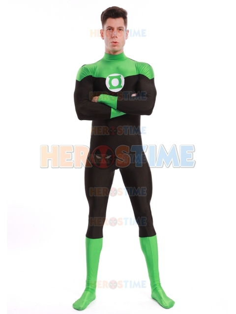 Newest Green Lantern Costume Spandex Halloween Cosplay  Green Lantern Superhero Costumes Hot Sale Zentai Suit Free Shipping