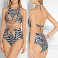 Striped printing One Piece Swimsuit Sexy swimwear women Monokini Swimming  For Women Suit Bohemia Swimwear Female Bathing Suit