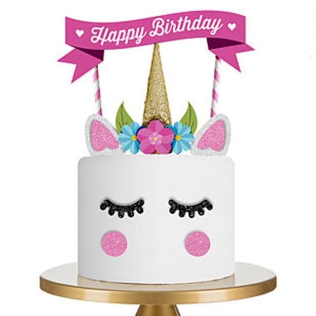 137 Aliexpresscom Acheter Décoration De Cupcake De Fête De Licorne Rose Fait à La Main Joyeux Anniversaire Drapeau De Fête Bébé Enfants