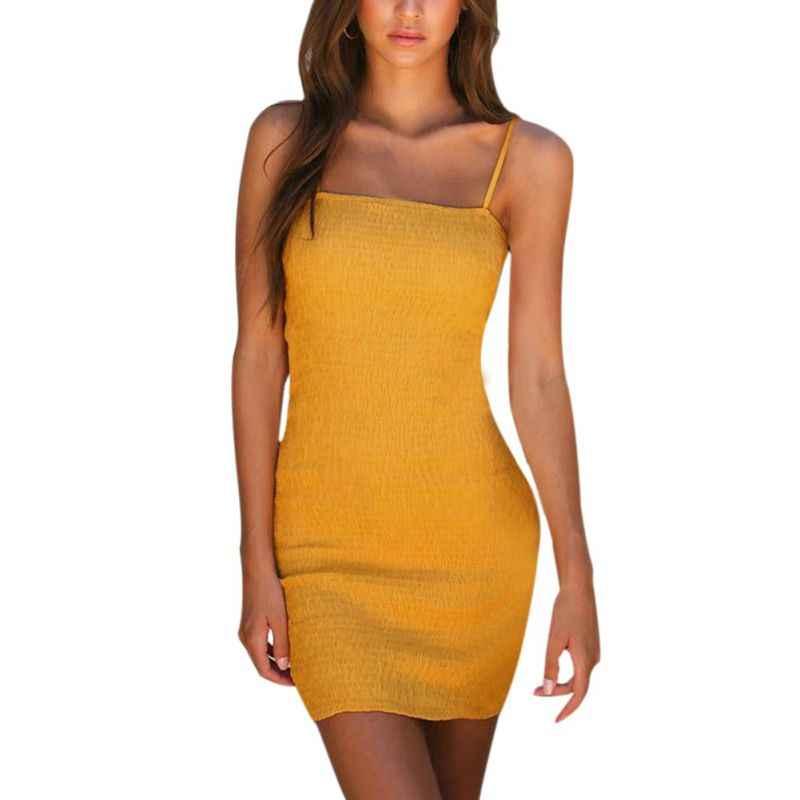 New Sexy Bodycon Yellow Summer Dress 2019