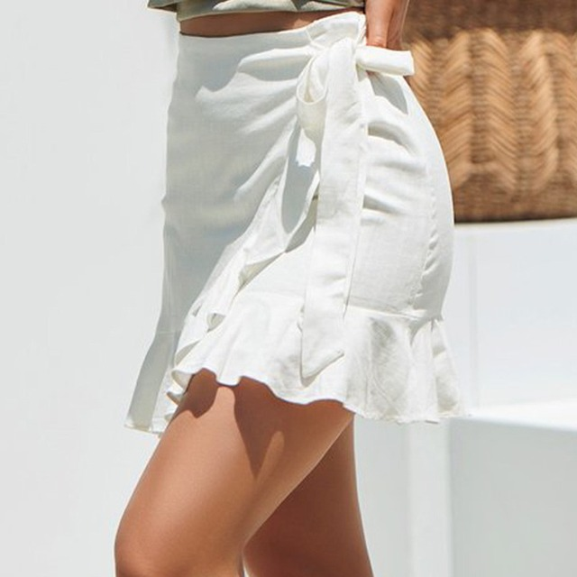 Sexy Mini Skirt Fashion Women Solid Ruffles Bandage Lace Up Short Skirt A-Line Pleated Chiffon Boho Beach Wrap skirts faldas C4