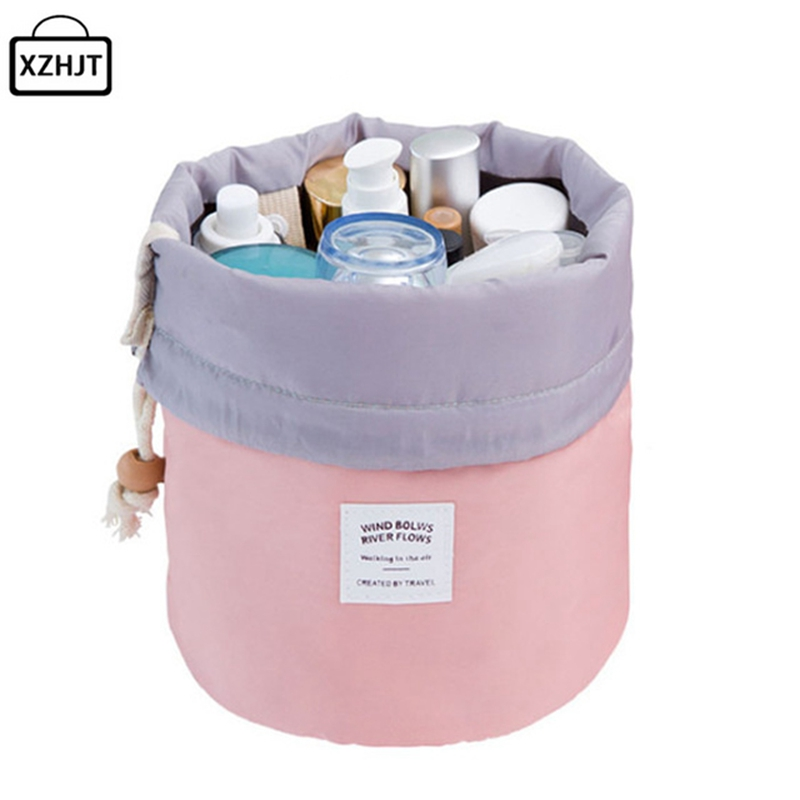 XZHJT Fashion 2016 Barrel Shaped Travel Cosmetic Bag Make up Bag Drawstring Elegant Drum Wash Bags Makeup Organizer Storage Bag