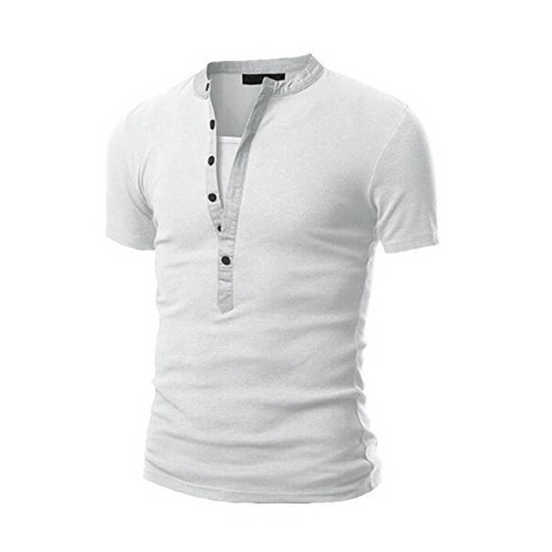 LLYGE 半袖メンズ V ネック Tシャツトップ黒アーミーグリーンボタンパッチワークメンズ Tシャツ 2019 夏スリム男性ストリートトップス