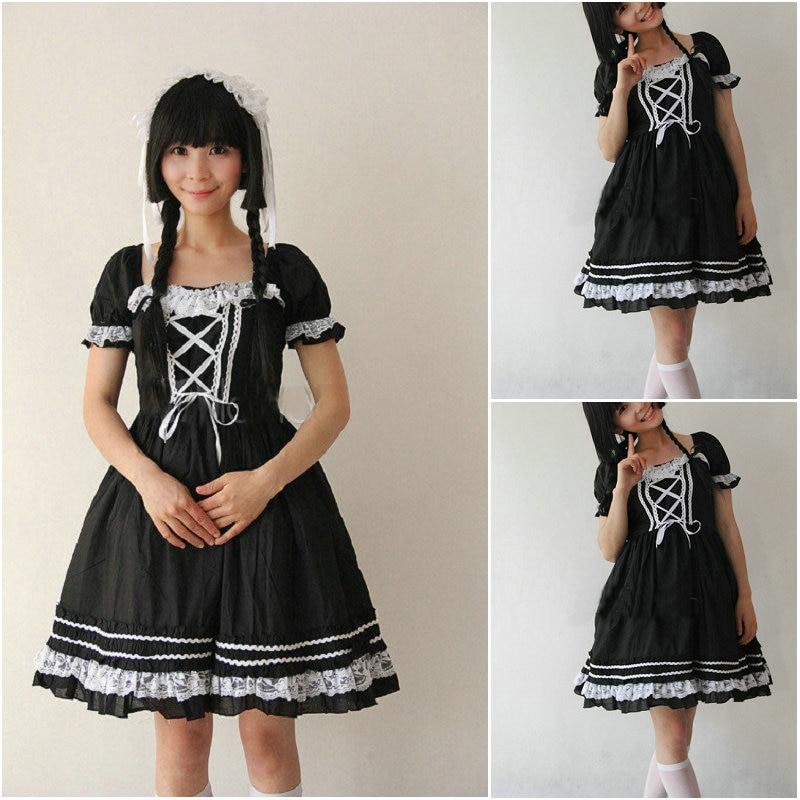 Customer to order!V 1043 Black Cotton short sleeves Gothic Lolita Dress School uniform Halloween Cosplay Cocktail Ball Dress