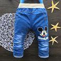 2016 Classic Jeans Kids Meninas Mickey Padrão Elástico Na Cintura Reta Calças Jeans Varejo calças de Brim Menino Para 2-5 Anos