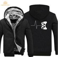 For Gamers Zipper Hoodies Funny Gaming Video Sweatshirts 2019 Hot Winter Warm Fleece Men Thick Game Brand Jacket