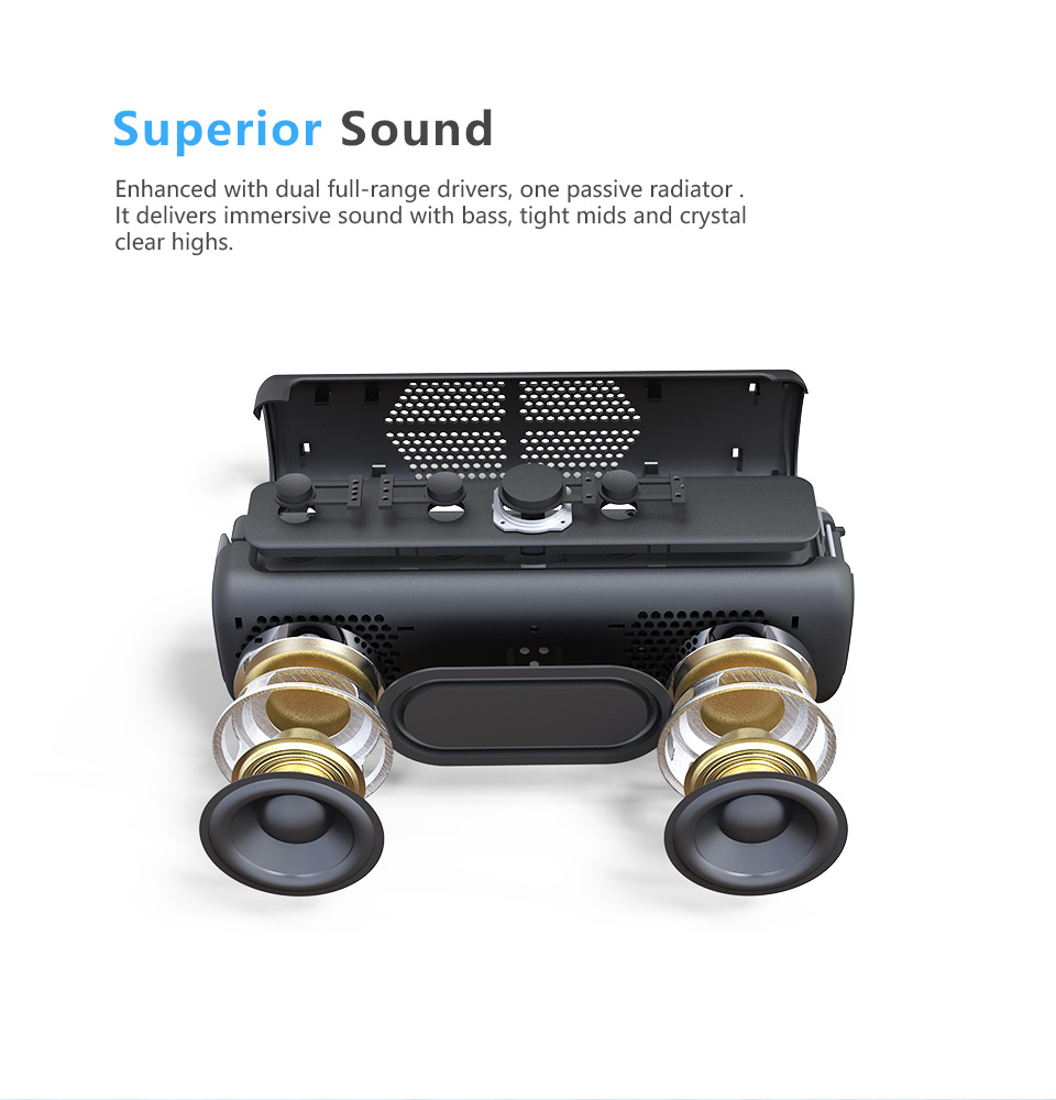 DOSS E-go ll Outdoor Portable Bluetooth Speaker With IPX6 Waterproof Built-In Microphone For PC 2