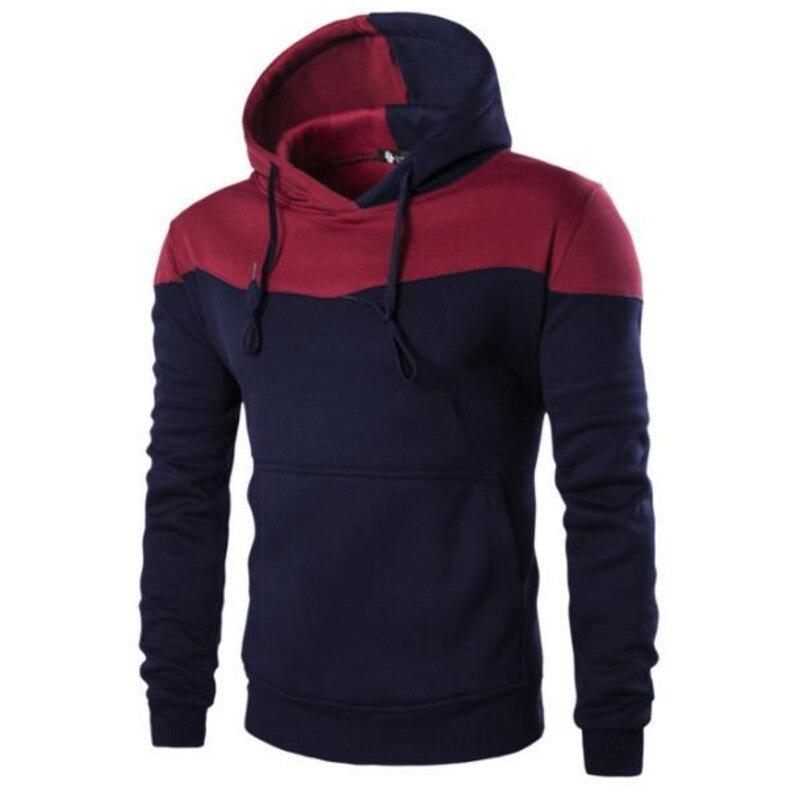 Mens Simple Fashion Spliced Color  pullover Hoodie sweatshirt men men's hoodies cotton casual hoodies long sleeve hooded