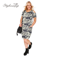 Plus Size Women Camo Print T-shirt Dress Casual Military Camouflage Tunic Cold Shoulder Dress Big Size Dress 3-6XL
