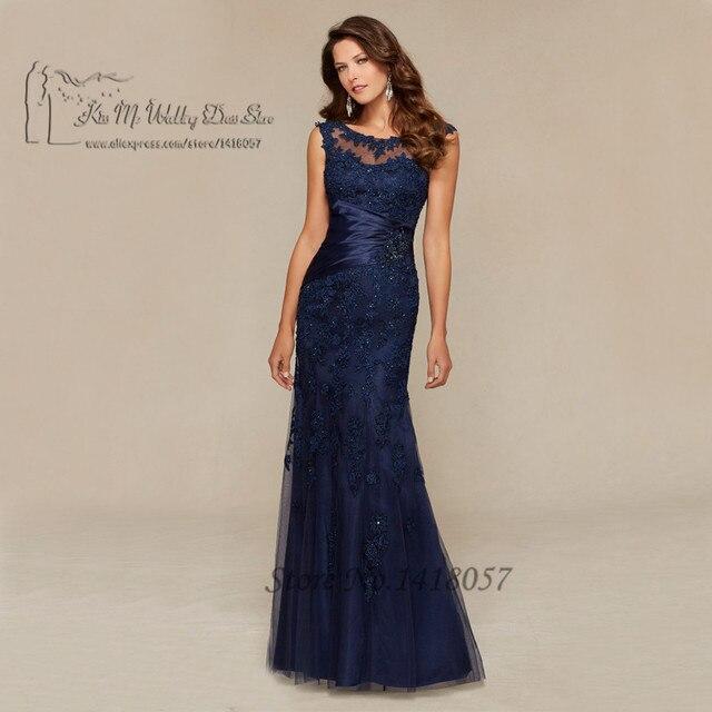 36d1737f077 Синий русалка вечернее платье кружева из бисера длинный мать невесты платья  мантия-де-вечер