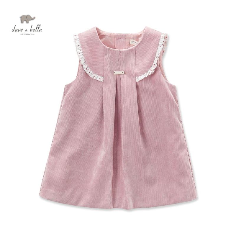 DB3916 dave bella autumn baby girl pink ruffles princess dress baby sleeveless dress kids birthday dress children costumes