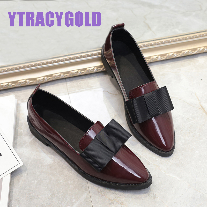 YTracyGold Classic Casual Shoes Women Pointed Toe Oxford Shoes for Women Flats Mocassim Feminino Slip on PU Leather Women Shoes pu pointed toe flats with eyelet strap