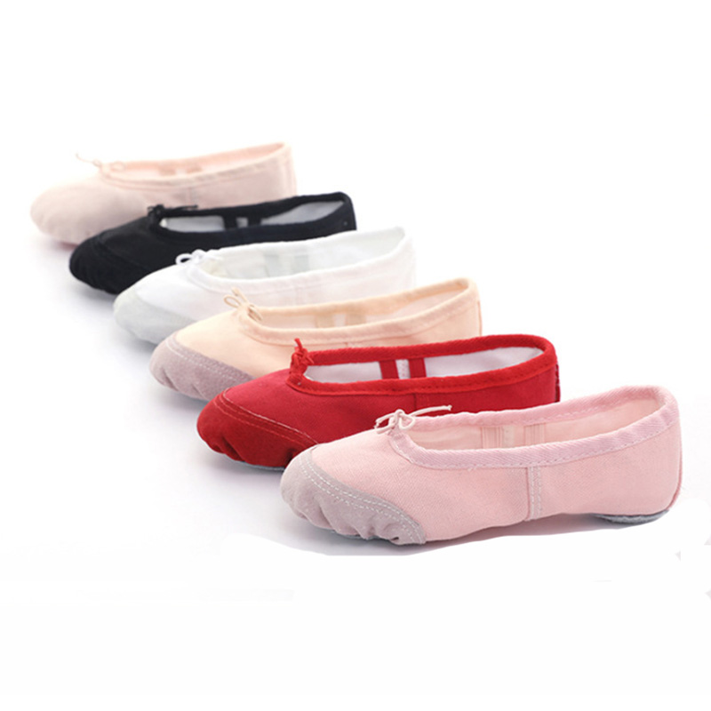 USHINE EU22-45 Cloth/Leather Head Yoga Slippers Teacher Gym Indoor Exercise Canvas Ballet Dance Shoes Children Kids Girls Woman