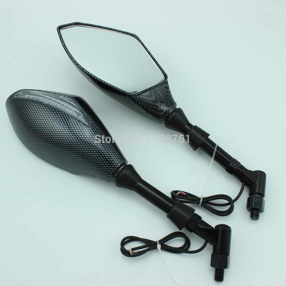 FREE SHIPPING Details about MOTORCYCLE CARBON STREET BIKE REARVIEW MIRROR W/ TURN SIGNALS INDICATORS Clear