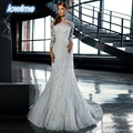 Vintage White Mermaid Appliques Wedding Dresses with Detachable Train  Court Train Vestido De Noiva Renda Custom 3/4 Sleeves