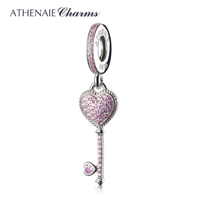 ATHENAIE 2 цвета 925 пробы серебро Ясно CZ символом доверия кулон капли Fit Все европейские браслет или ожерелье с Шармами