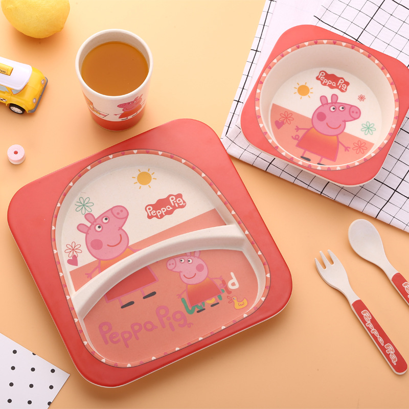 5pcs/set Bamboo Firber Peppa pig children kids dinnerware set pink gift -in Dishes u0026 Plates from Home u0026 Garden on Aliexpress.com | Alibaba Group  sc 1 st  AliExpress.com & 5pcs/set Bamboo Firber Peppa pig children kids dinnerware set pink ...