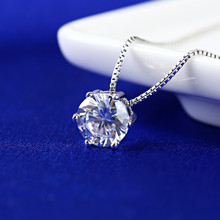 Everoyal Trendy Lady Zircon Round Pendant Necklace For Women Jewelry Fashion Silver 925 Clavicle Necklace Girl Party Accessories everoyal fashion crystal purple dolphin necklace silver jewelry for women trendy 925 silver necklace for girl accessories lady