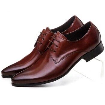 Large Size EUR45 Black / Tan Social Shoes Mens Dress Shoes Genuine Leather Business Shoes Formal Wedding Shoes
